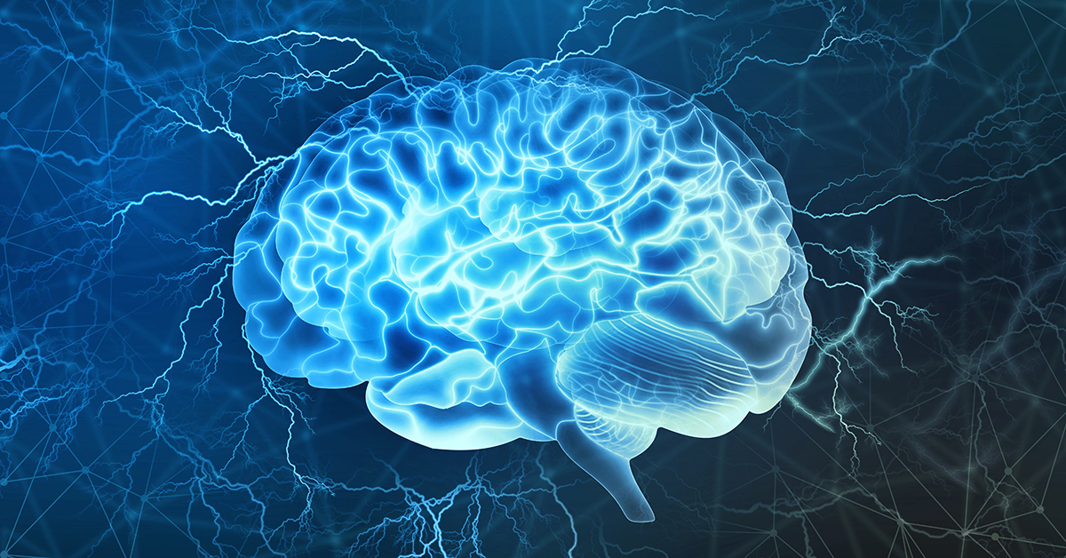 Human brain digital illustration. Electrical activity, flashes and lightning on a blue background.; blog: reasons to see a neurologist
