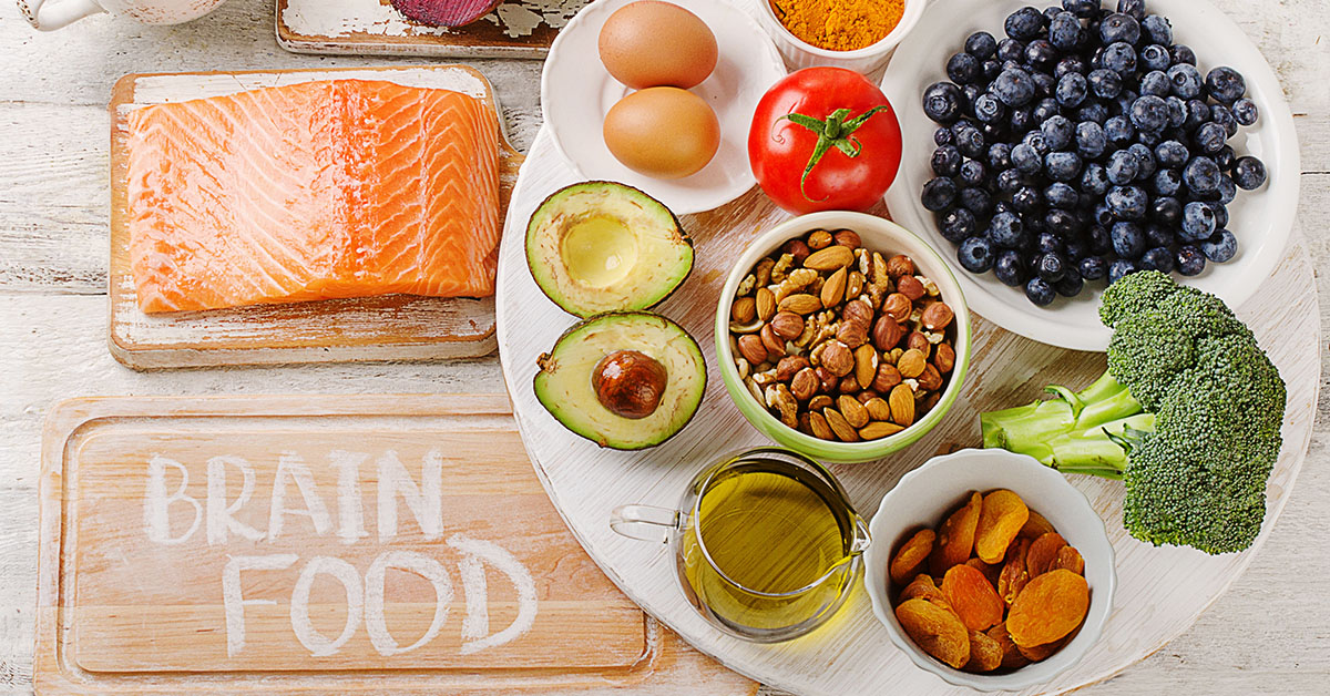Good Foods for brain. Healthy eating Concept. Top view; blog: Food for Thought: 11 Foods for Brain Health