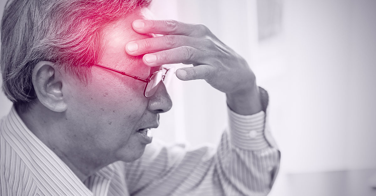 Asian elder pain from headache stress danger of stroke syndrome; blog: What is a TIA or Mini Stroke?